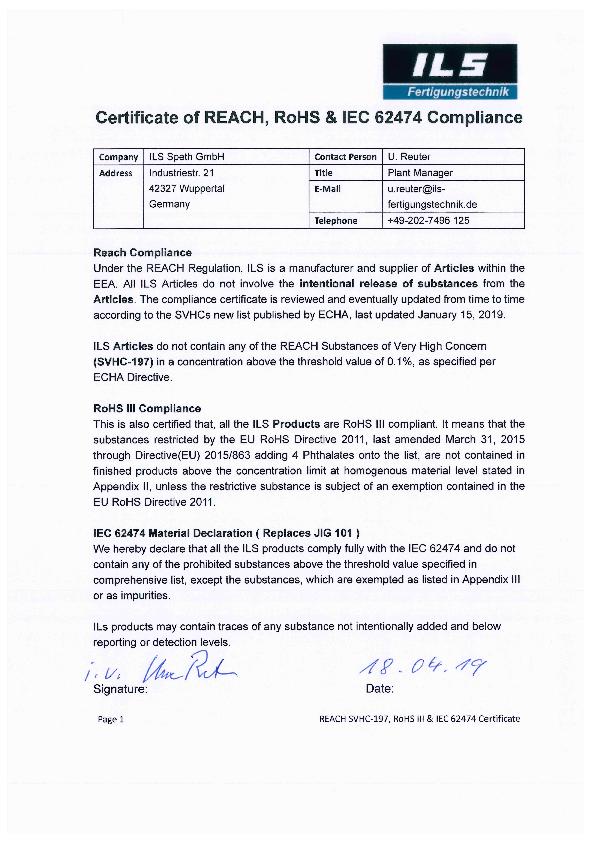 RoHS III Konformität / IEC 62474 Material Deklaration